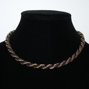 Vintage gold and brown rope chain necklace